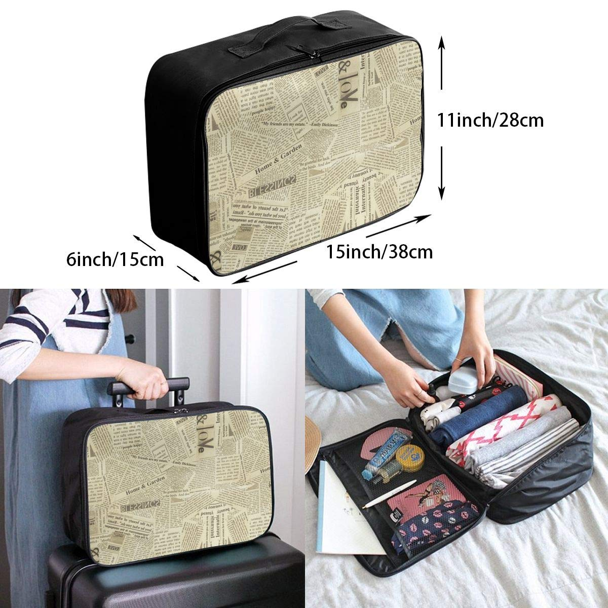 YueLJB Retro Newspaper Lightweight Large Capacity Portable Luggage Bag Travel Duffel Bag Storage Carry Luggage Duffle Tote Bag