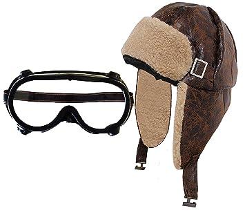 Chapeau marron d aviateur rétro immitation cuir et fourrure avec Une paire  de lunette vintage 443f2d9ef05a