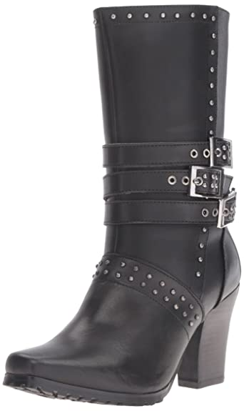 """Women's 8627 12"""" Heeled Buckle Black Work Boot"""
