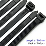 Heavy Duty Cable Ties Ultra Strong Plastic Ties 300mm X 7.6mm with 50KG Tensile Strength, 50 Pieces in White and 50 Pieces in Black