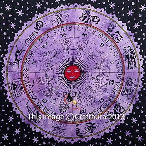 Zodiac Tapestry Wall Hanging Horoscope Tapestry Indian Astrology Hippie Wall Tapestries for Dorms Boho Twin Bedding Zodiac Tapestry. 85 X 55