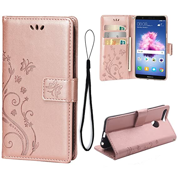 info for a86db c2129 Wallet Case for Huawei Enjoy 7S/Huawei P Smart, 3 Card Holder Embossed  Butterfly Flower PU Leather Magnetic Flip Cover for Huawei Enjoy 7S/Huawei  P ...