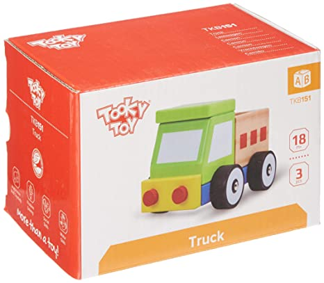 Tooky Toy - Camión de madera con ruedas para niños a partir de 18 meses