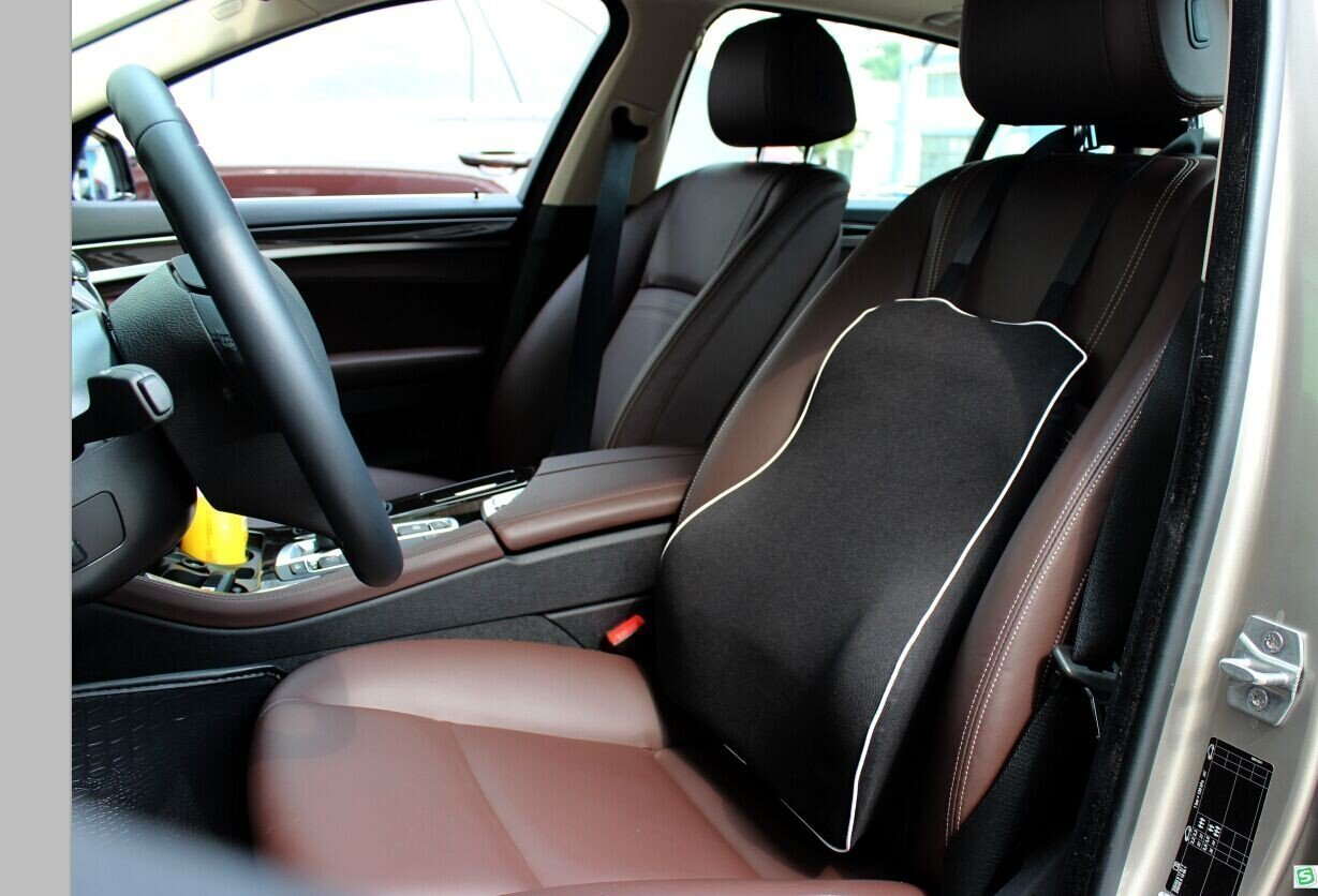 Ideal auto Back Pillow for Road Trip Driving Premium Memory Foam with Mesh Cover Universal Fit Major Car Seat Black LoveHome Car Lumbar Support Cushion