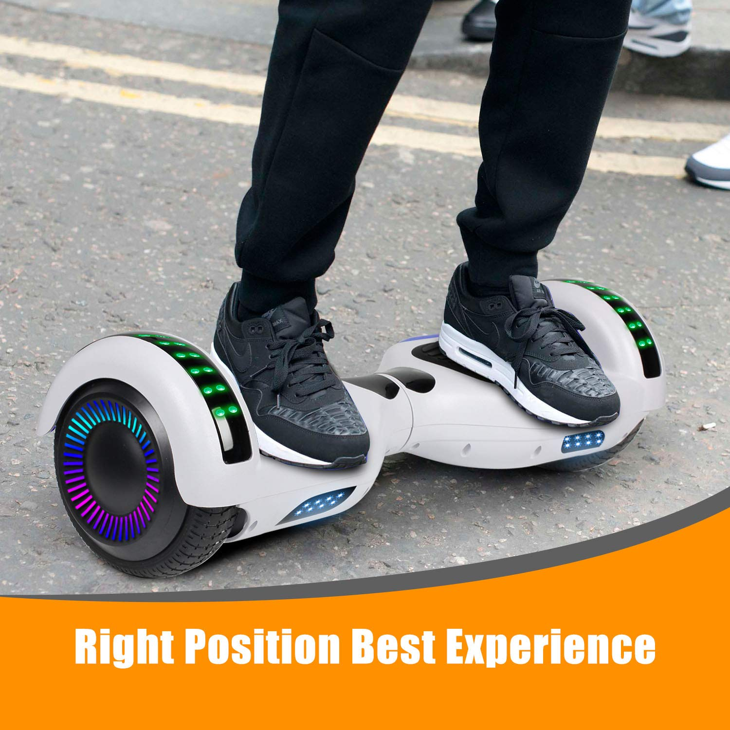 """SWEETBUY Hoverboard UL 2272 Certified 6.5"""" Two-Wheel Bluetooth Self Balancing Electric Scooter with LED Light Flash Lights Wheels White(Free Carry Bag) by SWEETBUY (Image #7)"""