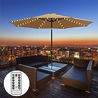 Luces para Sombrilla de Patio 104 luces LED Inalámbricas con Control Remoto 8 Horas de Duración de la Batería IP65 Impermeables Ajustable Cronometrado para Paraguas de 9 a 10 Pies al Aire Libre