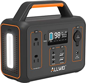 ALLWEI Portable Power Station, 300W/Peak 600W Solar Generator 280Wh/78000mAh CPAP Backup Lithium Battery Pack with LED light,Pure Sine Wave AC Outlet,PD 60W,for Outdoors Camping Travel Emergency