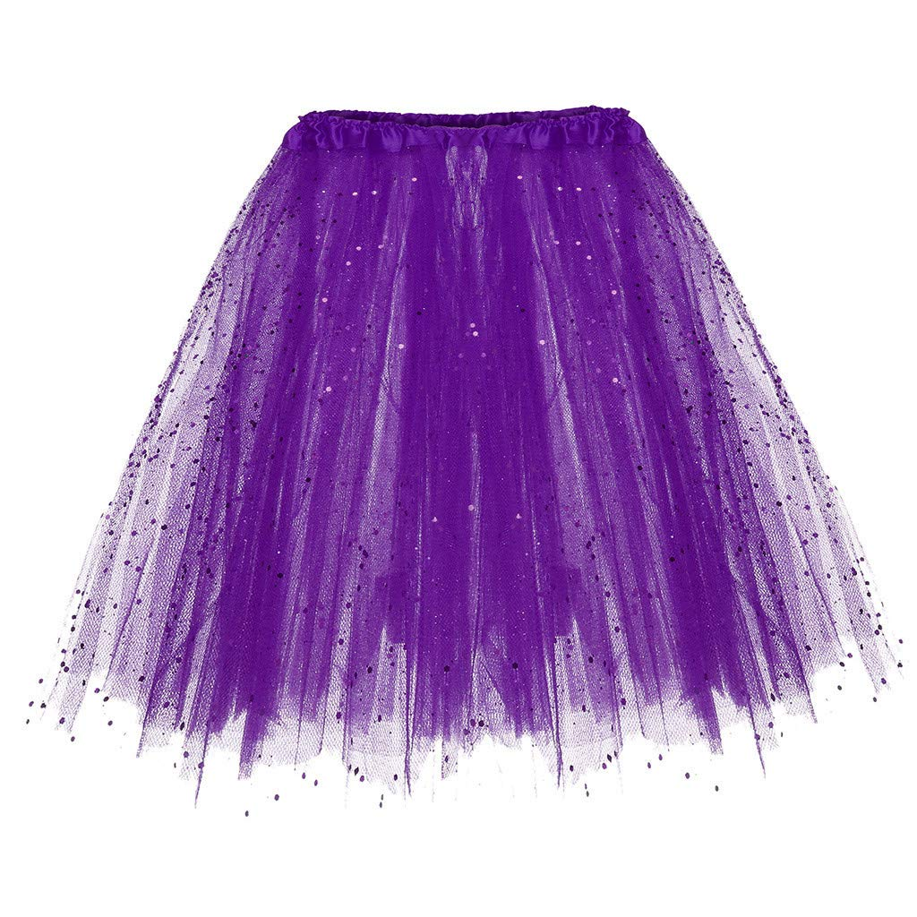 Shi Tou-Clothes Short Skirt for Woman Paillette Elastic 3 Layers Skirt Adult Tu Purple