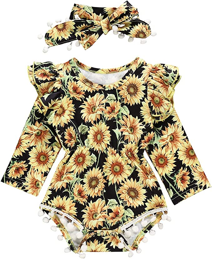 Newborn Toddler Baby Girl Clothes Ruffle Knitted Cotton Romper Bodysuit Sunflower Overall Skirt Outfits 2PC Sets