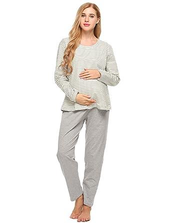 f7db4359e68e0 Etuoji Soft Maternity Nursing Pajamas Set Long Sleeve Cotton Breastfeeding  Loungewear Sleepwear at Amazon Women's Clothing store: