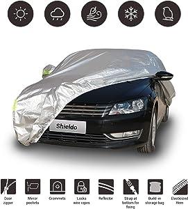 "Shieldo Basic Car Cover with Build-in Storage Bag Door Zipper Windproof Straps and Buckles 100% Waterproof All Season Weatherproof Fit 160""-172"" Length Hatchback"