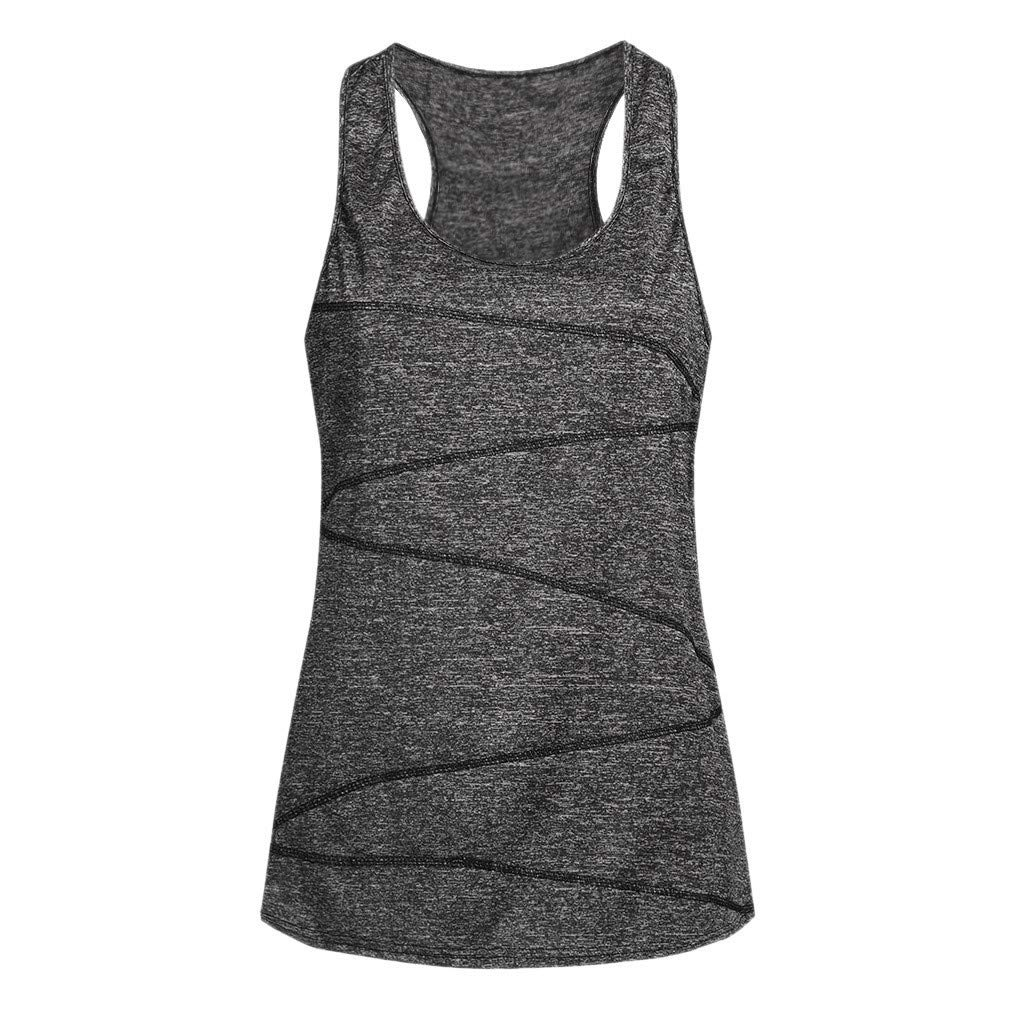 iLUGU Women Sleeveless Yoga Top Blouse Vest Racer Back Activewear Running Cami Workout Shirt Tunic Tank Dark Green