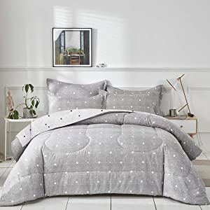 Uozzi Bedding Bed in a Bag 7 Pieces King Size Gray Dots Cross Style- Soft Microfiber, Reversible Bed Comforter Set (1 Comforter, 2 Pillow Shams, 1 Flat Sheet, 1 Fitted Sheet, 2 Pillowcases)
