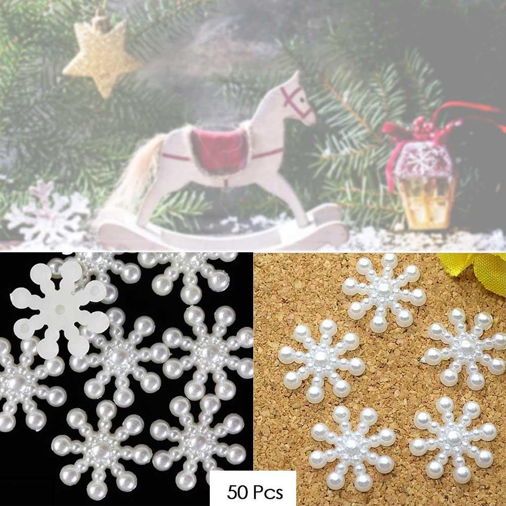 50 Pieces Snowflake Flatbacks Pearl Embellishments For Christmas Craft Card DIY Making hengbaixin