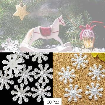 100 STÜCKE Schneeflocke Flatback Perle Verzierungen Weihnachten Handwerk DIY