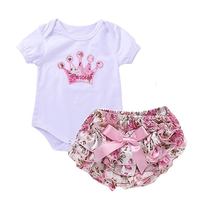 iwoka recién nacido bebé niñas ropa Set corona patrón Pelele Body + impreso pantalones trajes - - : Amazon.es: Ropa y accesorios