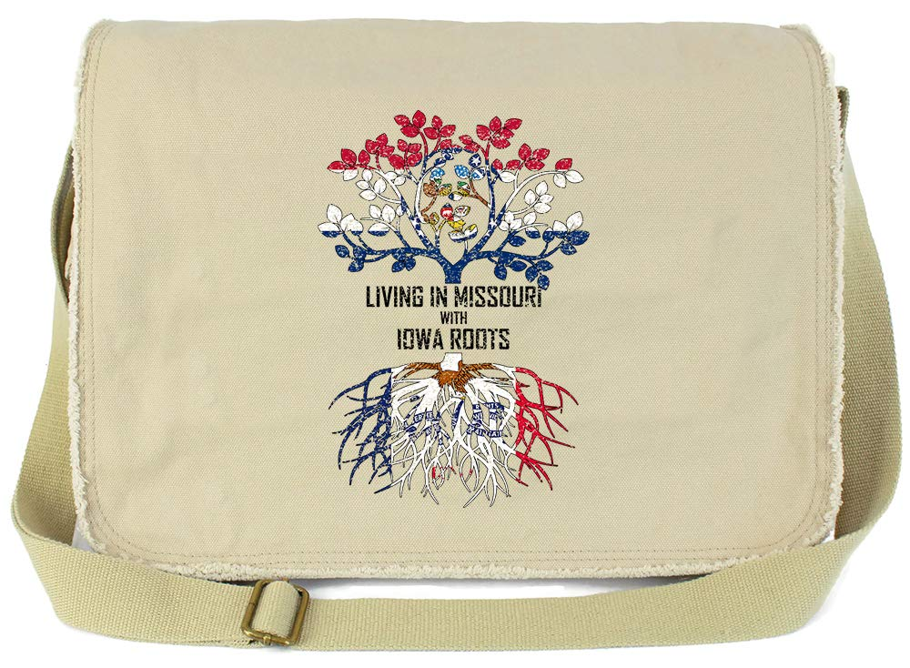 Tenacitee Living In Missouri with Iowa Roots Grey Brushed Canvas Messenger Bag