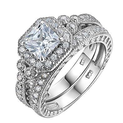 Newshe 2.4ct Round White CZ 925 Sterling Silver Wedding Band Engagement Ring Set 2pcs Bridal Set 5gXWltzdb