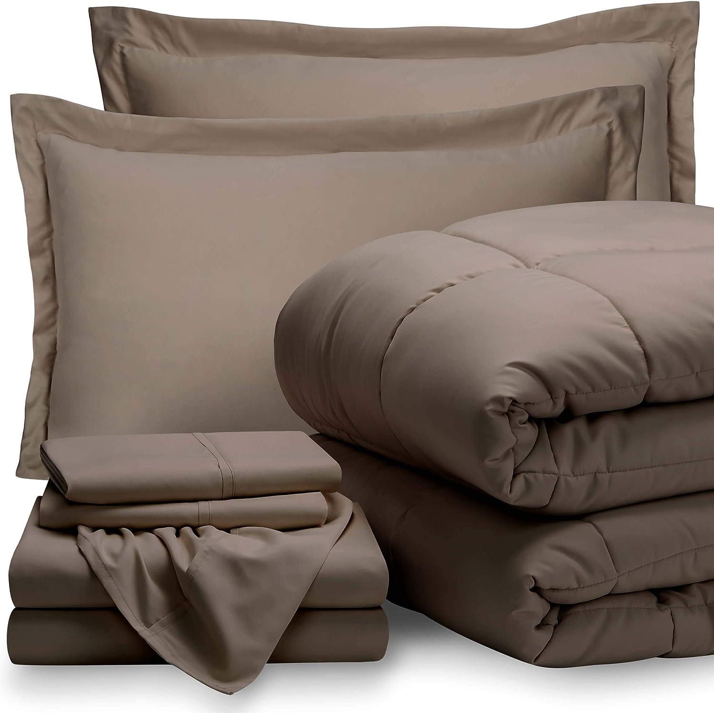 Bare Home King Sheet Set - 1800 Ultra-Soft Microfiber Bed Sheets (King, Taupe) + Comforter Set - All Season (King, Taupe)