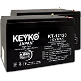 Battery 12V 12Ah Fresh & Real 12.0 Amp AGM/SLA Sealed Lead Acid Rechargeable Replacement Genuine KEYKO KT-12120 - F2 Terminal - 2 Pack