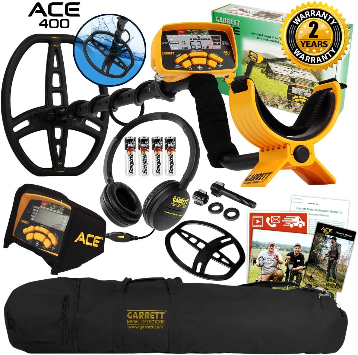 Garrett ACE 400 Metal Detector with DD Waterproof Search Coil and Carry Bag Pack 1
