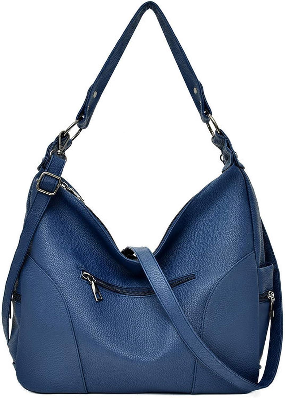 Women Shoulder Bags Delphinium Sky Blue Leather Ladies Hand Bag Hobos Bag Handbags,Blue