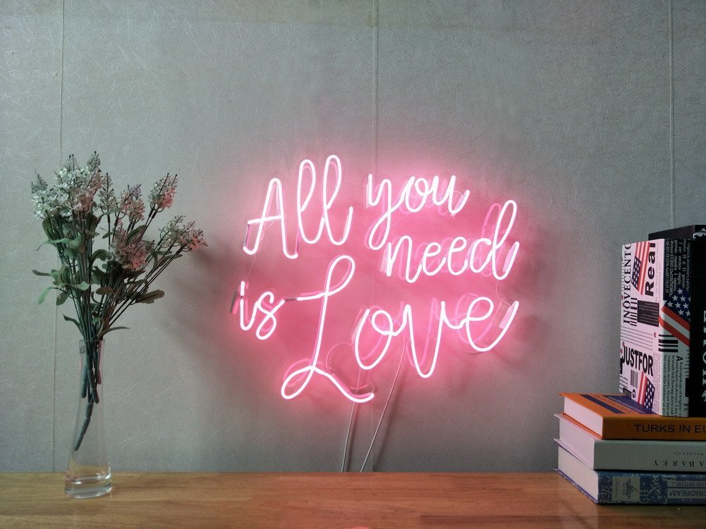 All You Need Is Love Real Glass Neon Sign For Bedroom Garage Bar Man Cave Room Home Decor Handmade Artwork Visual Art Dimmable Wall Lighting Includes Dimmer