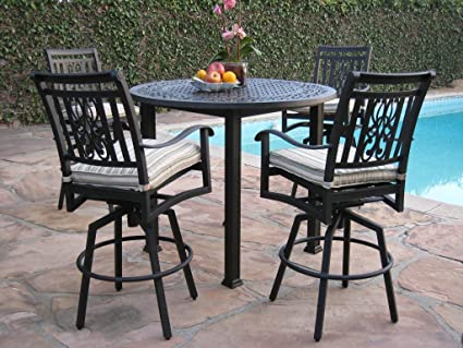 Heaven Collection Outdoor Cast Aluminum Patio Furniture 5 Piece Bar Stool 48u0026quot; Table Set with : swivel patio chairs - Cheerinfomania.Com
