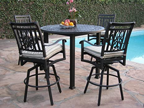 Heaven Collection Outdoor Cast Aluminum Patio Furniture 5 Piece Bar Stool  48u0026quot; Table Set With