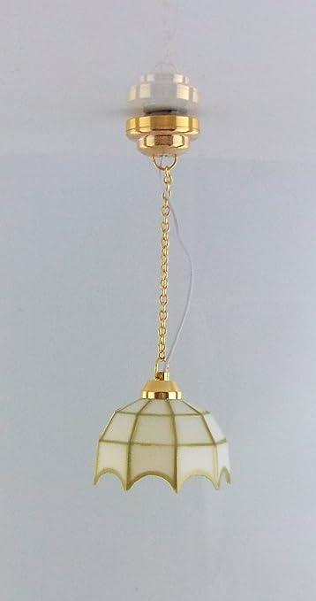 1542 H/ängelampe Puppenhaus Beleuchtung mit Uhrenbatterie Dollshouse LED