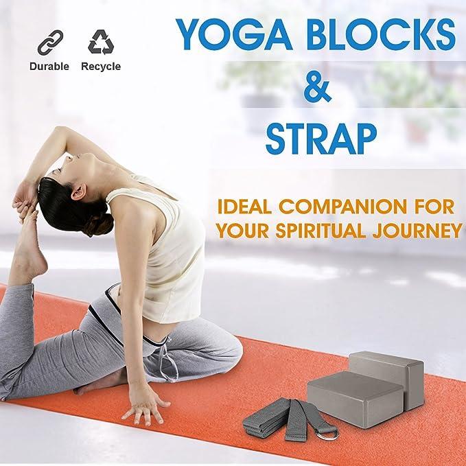 TIME4DEALS 2pcs Bloques de Yoga + Correa de Yoga Set Calidad EVA Espuma Bloques de la Empresa Cómoda con Traje Ligero para Yoga y Pilates Amantes