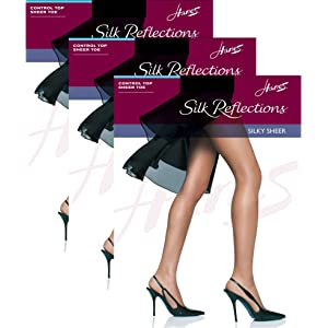 72504425957 Hanes Womens Set of 3 Silk Reflections Control Top Sheer Toe Pantyhose