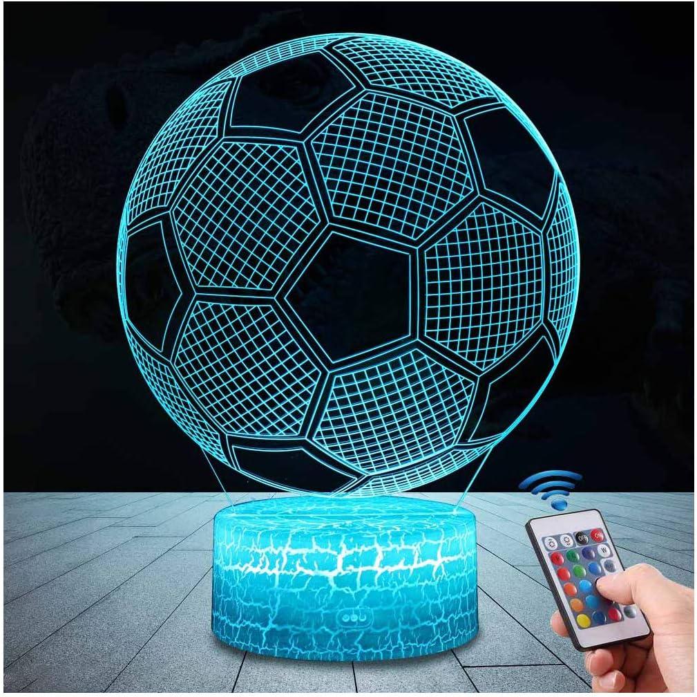 LED Lámpara de Mesa 3D Fútbol con Control Remoto Sensor Tacto, QiLiTd Regulable Lámpara de Noche de Atmósfera Modo RGB, Decoracion Cumpleaños, Navidad Regalos de Mujer Bebes Hombre Niños Amigas
