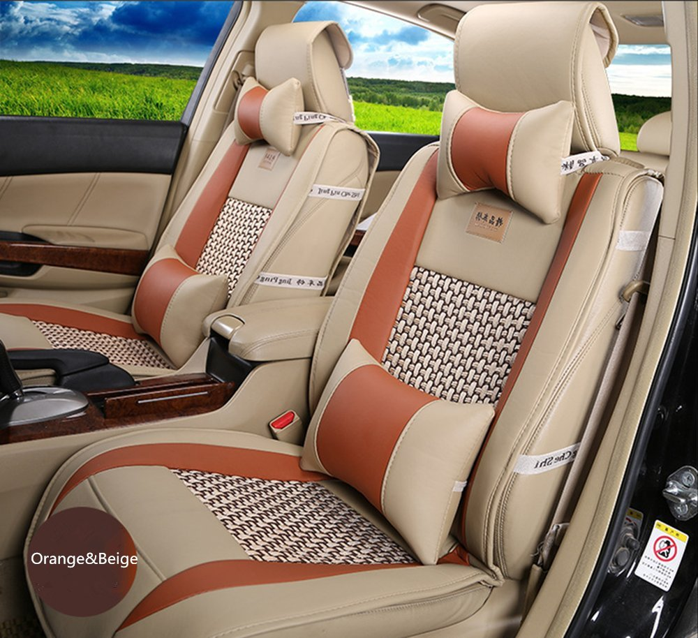 Amooca VTI Universal Front Rear Car Seat Cushion Cover Orange&Beige 10pcs Full Set Needlework PU Leather