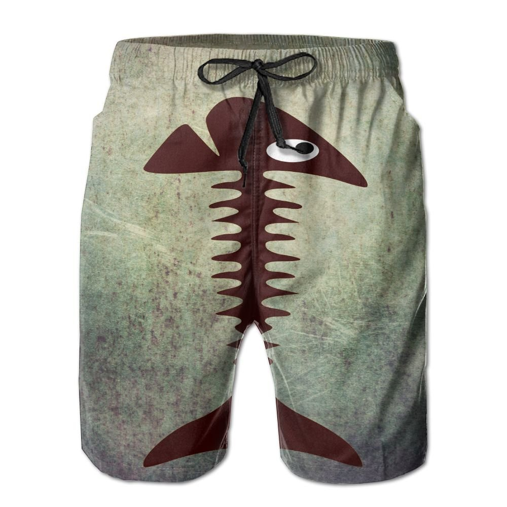2c3dacb757 Amazon.com  Fish Bones Brown Pattern Swim Trunks Quick Dry Beach Board  Shorts Men Pants Household Shorts  Clothing
