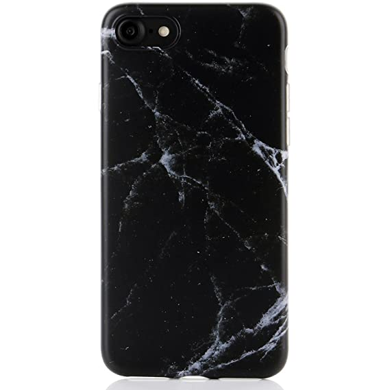 new style b43af 38153 DICHEER iPhone 7 Case,iPhone 8 Case,Cute Black Marble for Men Women Girls  Slim Fit Thin Clear Bumper Glossy TPU Soft Rubber Silicon Cover Best ...