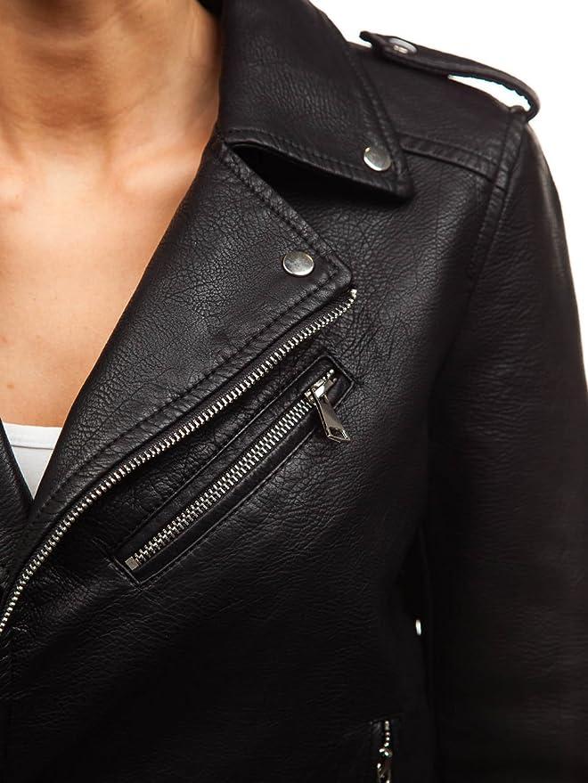 5a62038a0 BOLF Women's Faux Leather Jacket Moto Biker Plain Zip Snap Smart ...