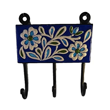 The crabby nook wall hanging hook jaipur blue pottery tile decorative accent home decor accent