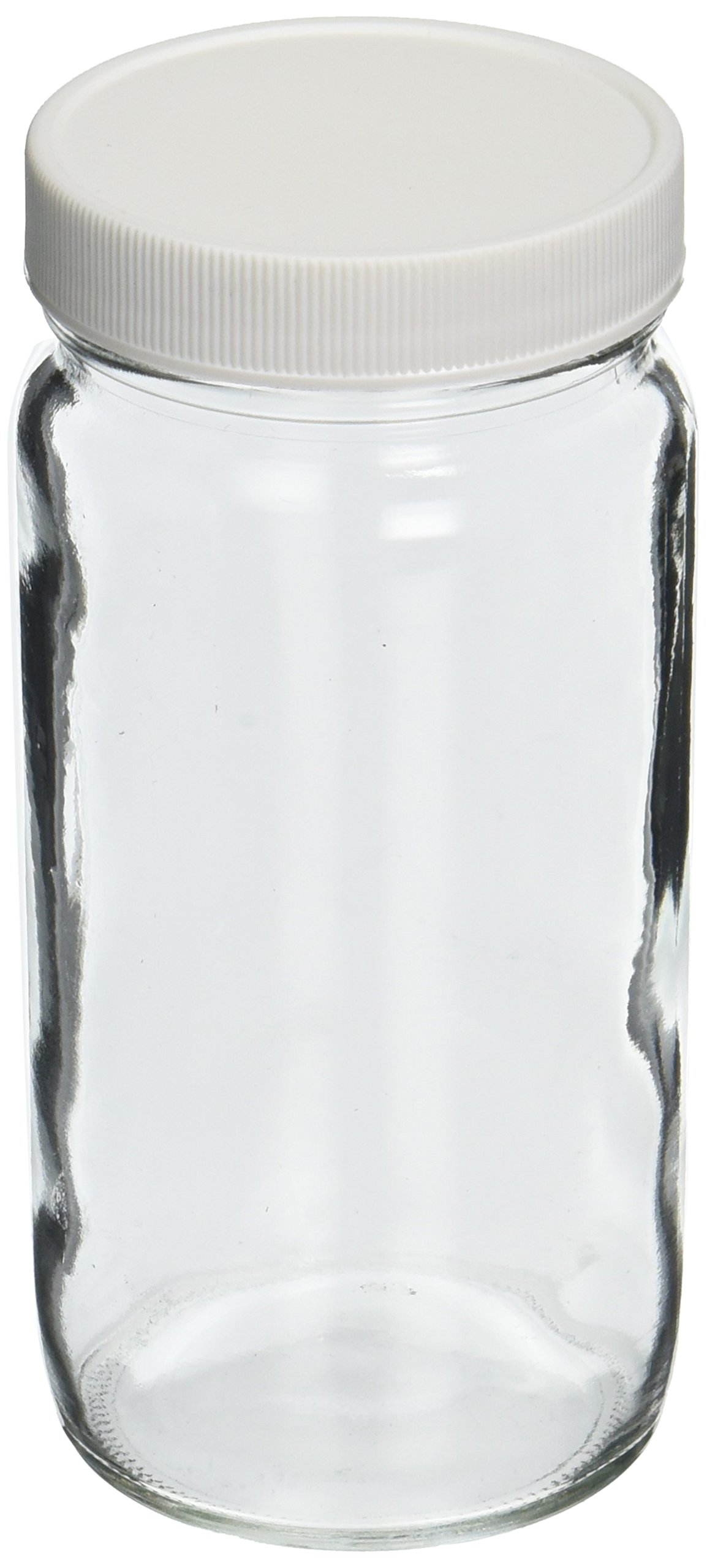 JG Finneran D0098-8 Clear Borosilicate Glass Tall Straight Sided Standard Wide Mouth Jar with White Polypropylene Closure, F217 Lined, 58-400mm Cap Size, 8oz Capacity (Pack of 12)