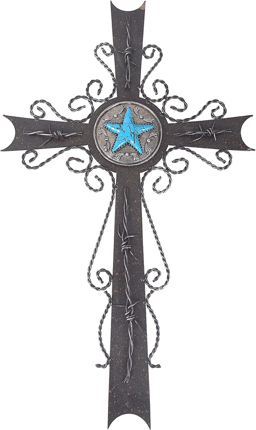 """White Deer 22"""" Large Rusty Iron Western Cowboy Wall Cross Faux Turquoise Lone Star Emblem"""