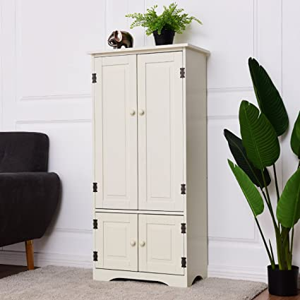 Giantex Accent Floor Storage Cabinet Adjustable Shelves Antique 2 Door Low  Floor Cabinet (White
