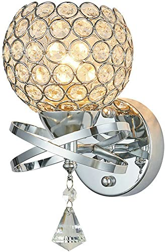 DINGGU Decorative Chrome Finish Crystal Bedside Wall Lamp Sonces Bedside Light
