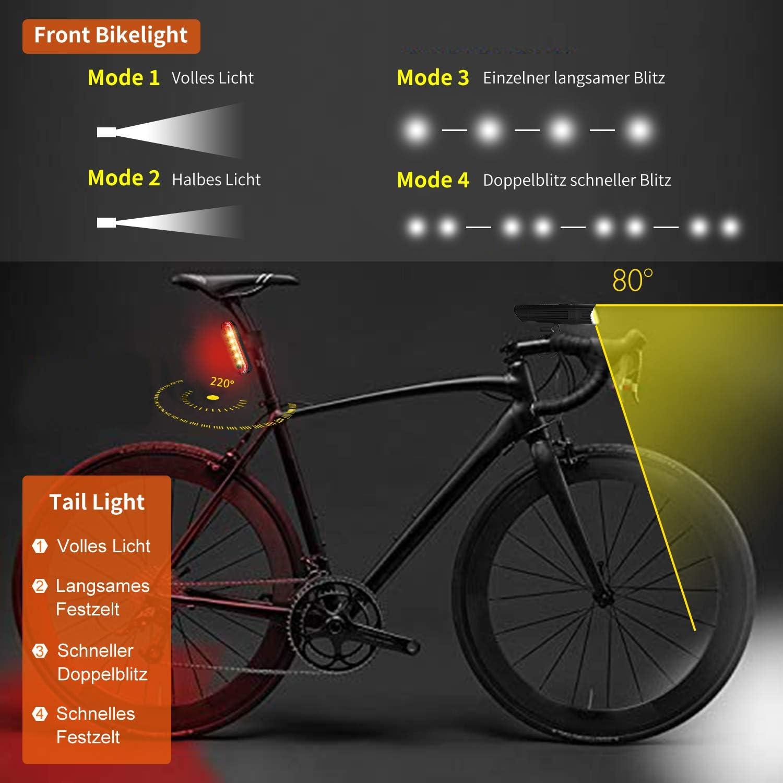 Fahrrad Licht Led Set StVZO Fahrradlicht Led Set USB,Fahrradlict Vorne Led USB Farradbeleuchtung Aufladbar Wasserdicht Fahrradlampe Mit Akku Frontlicht Und R/ücklicht IP3X Staubdicht Blendschutz 400LUX