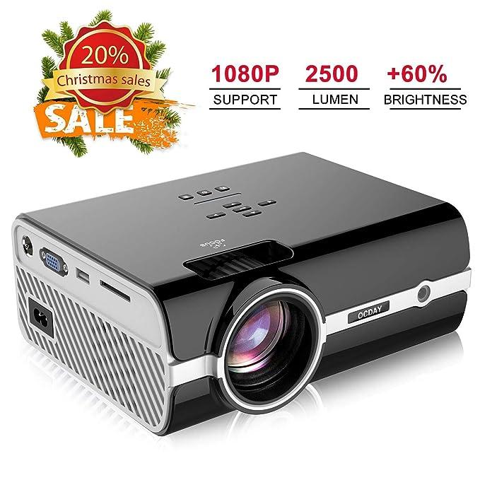 proyector, videoproyectores de 2500 lúmenes Full HD 1080P, Mini proyector portátil de OCDAY para Cine, TV, Xbox Juego Hogar, Boda, Clase, Discurso-Color Negro