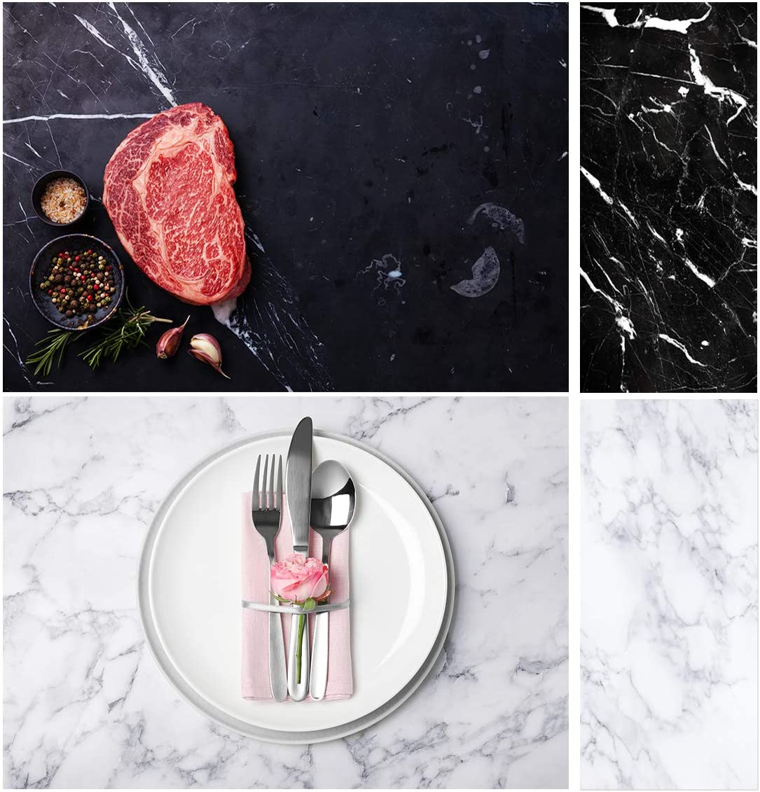 Allenjoy 34.4x15.7in Double Sided Marble Photography Background 2 in 1 Texture Pattern Waterproof Paper Tabletop Backdrop Food Jewelry Cosmetics Makeup Small Product Props Professional Photo Studio