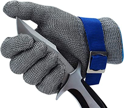 CPTDCL Level 9 Cut Resistant Glove Safety Stainless Steel Mesh Metal Wire Glove Kitchen Cutting Protection Small