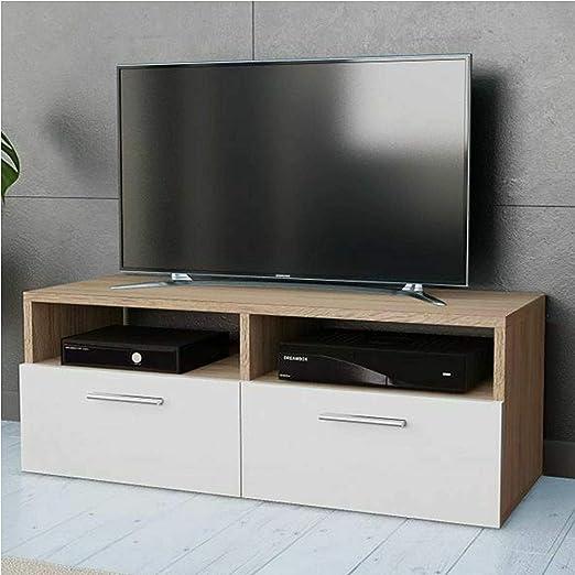 Gr8 Home Madera Moderno Blanco Roble Armario de TV Soporte Unidad ...