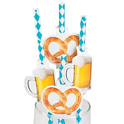 Fun Express - Oktoberfest Paper Straws (24pc) for Party - Party Supplies - Drinkware - Straws - Party - 24 Pieces: Toys & Games