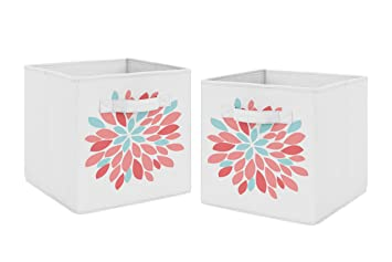 Superbe Amazon.com : Turquoise And Coral Floral Foldable Fabric Storage Cube Bins  Boxes Organizer Toys Kids Baby Childrens For Emma Collection By Sweet Jojo  Designs ...