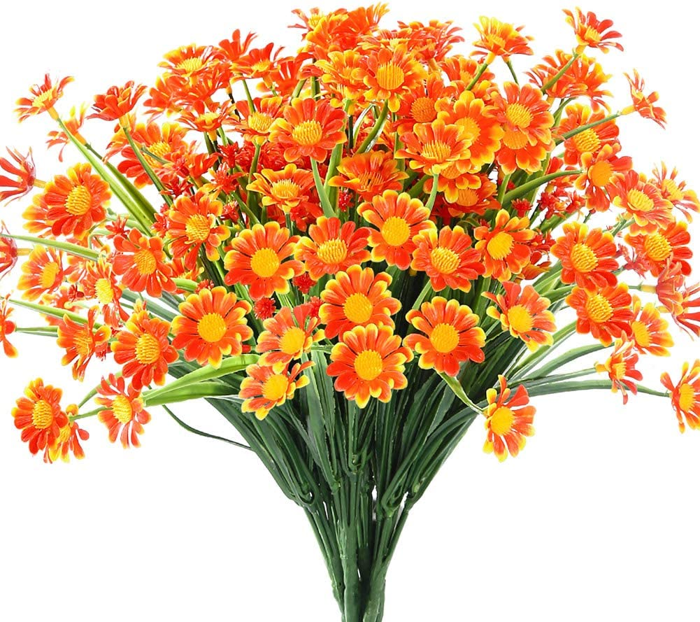 6 Bundles Artificial Daisy Mums Flowers Outdoor Fake Fall Flowers for Decoration No Fade Faux Plastic Autumn Flower Garden Porch Window Box Décor (Orange Red)